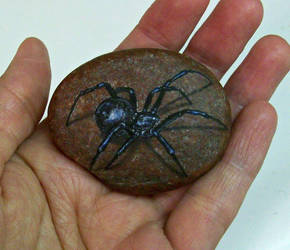 Black Widow Spider Rock Art by TinyAna