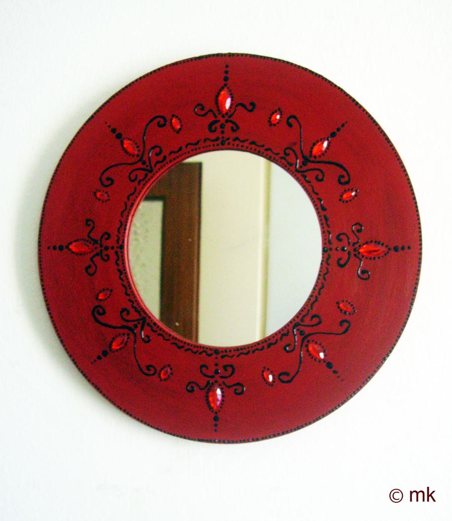 red decorated mirror by mikyechelon red decorated mirror by mikyechelon - Decorated Mirror