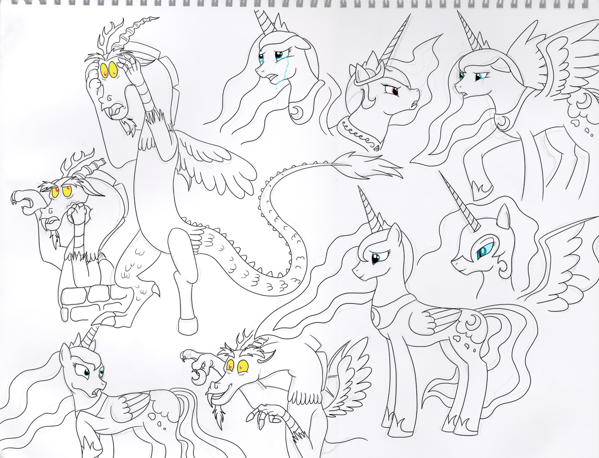 mlp fim coloring pages - mlp fim discord celestia luna nightmare moon prac by