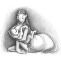 Nursing mother centauress by Batri