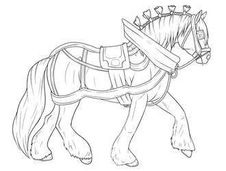 Clydesdale with tack | Lineart by fujoshiprincess