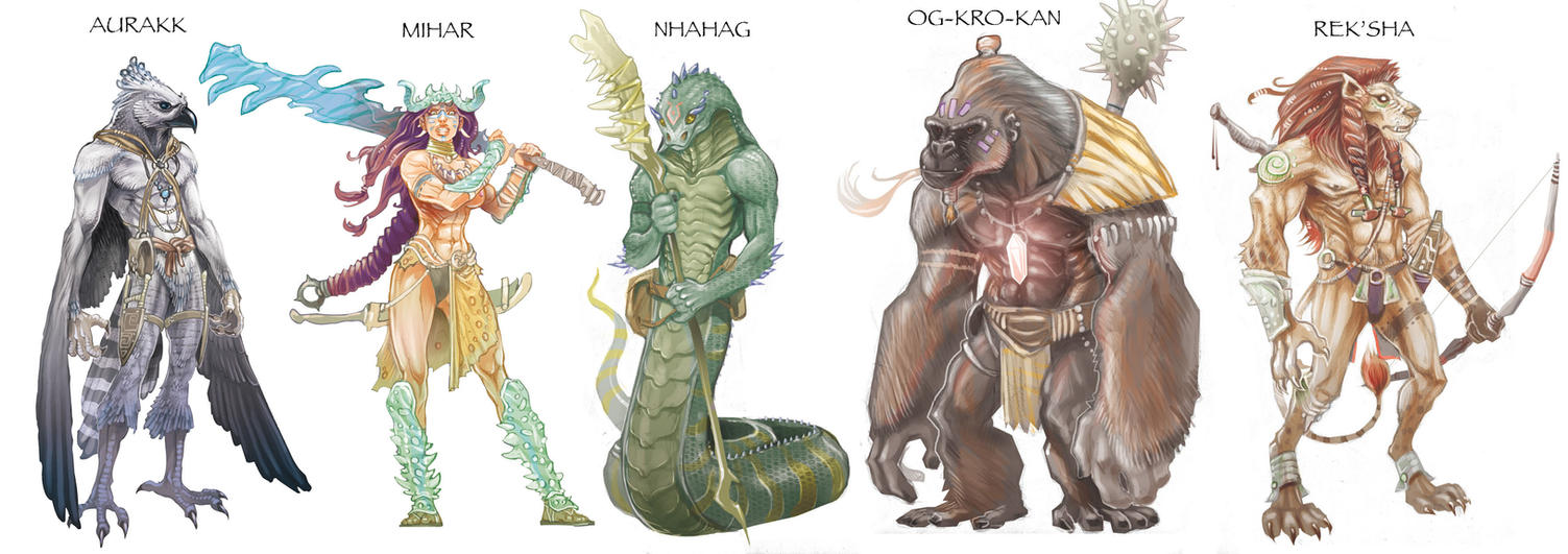 Some savage race concepts by Nezart