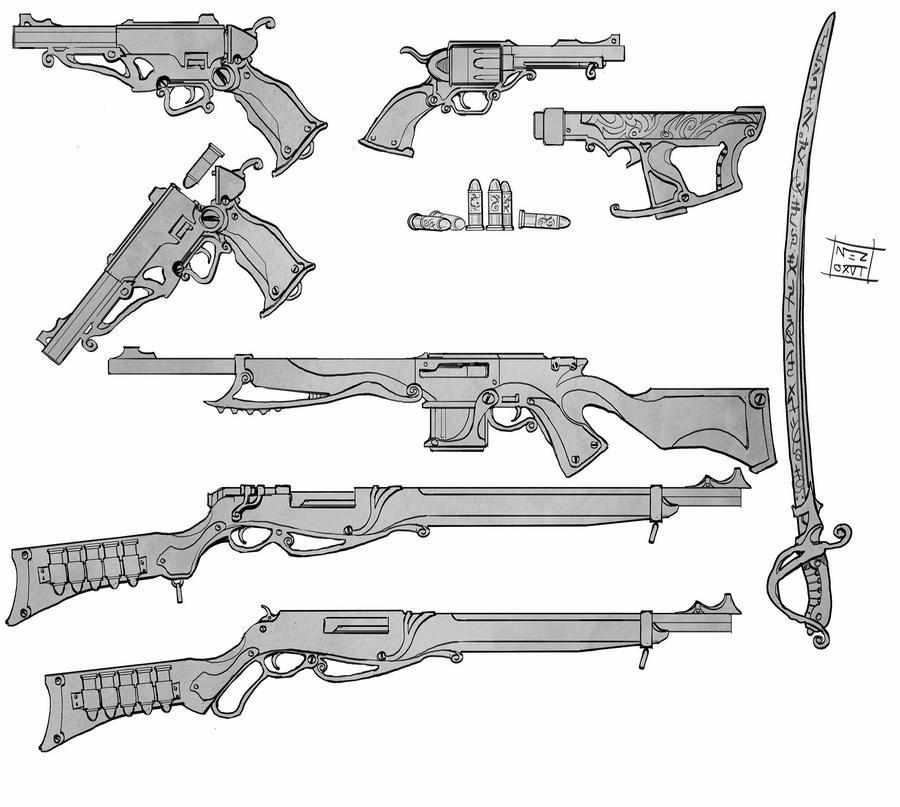 Steampunk firearms by Nezart