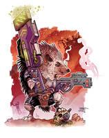 Hedgehog Cyborg hunter.