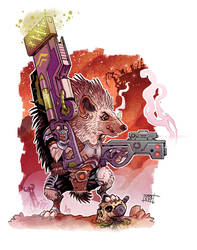Hedgehog Cyborg hunter. by Nezart