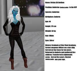 Star Trek Andorian Ambassador Vrisha Sh'zhethon by Mary-Margret