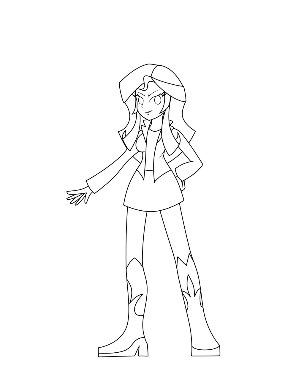 equestria girls sunset shimmer lineart by darkengales on