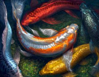 Rainbow Koi Pond 2 by SaraLynArt