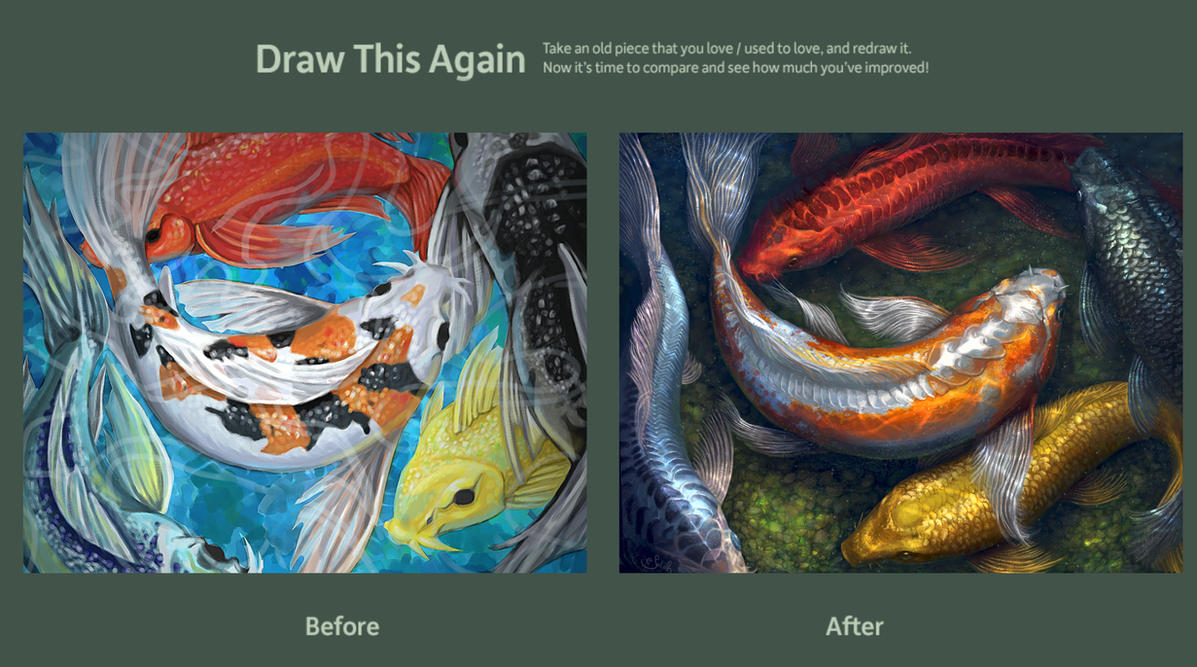 Rainbow koi pond by saralynart on deviantart for Koi fish pond drawing