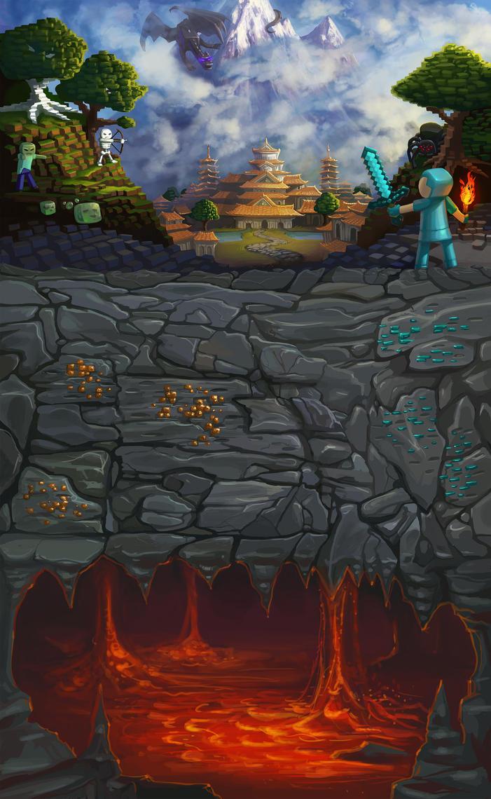 Minecraft landscape by SaraLynArt