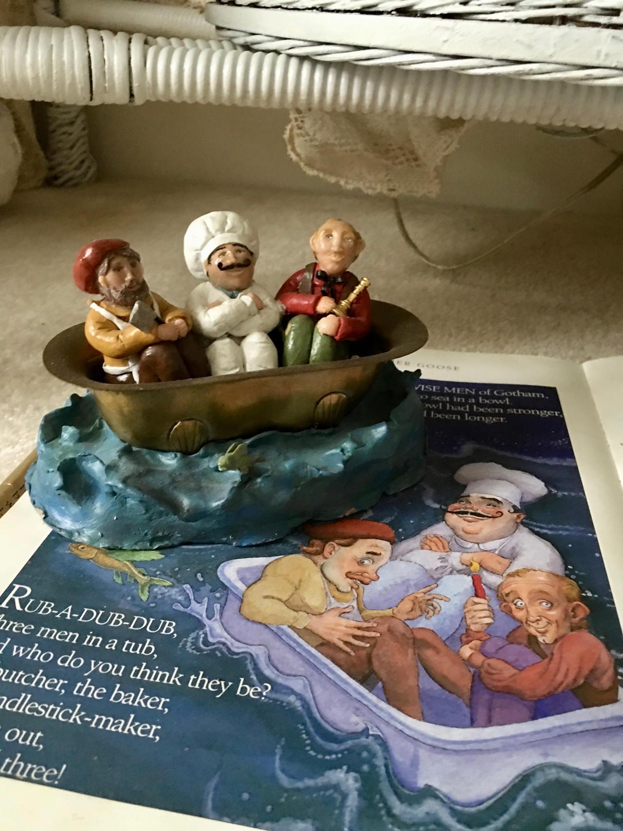 3 Men in a Tub (polymer clay)