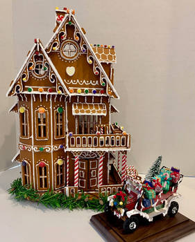 Victorian House and Auto (Faux Gingerbread)