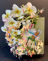 Orchids (hummingbirds-polymerclay/paper) by dmorehead