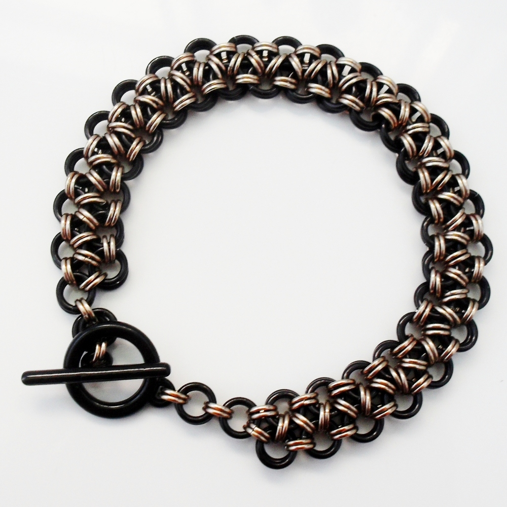 black and gold japanese weave mens bracelet by