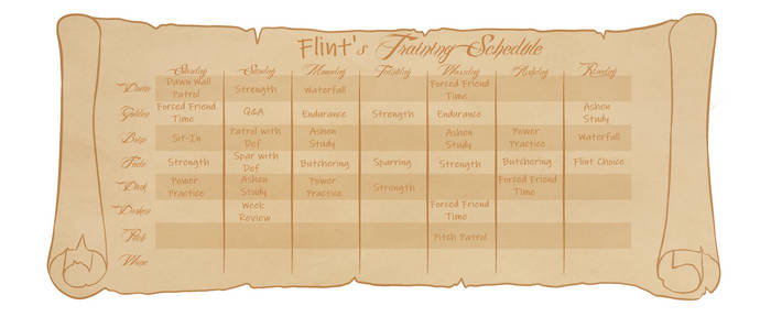 Flint's Training Schedule