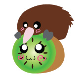 Kiwi on Kiwi Button by DayGlowStudio
