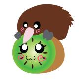 Kiwi on Kiwi Button by DayGlowStudio