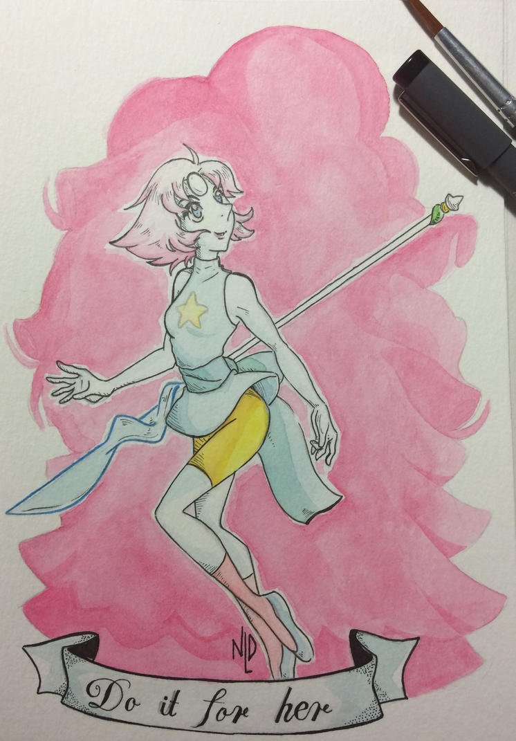 """Deep down you know you weren't built for fighting, but that doesn't mean you're not prepared to try."" ---- Art by me Pearl (c) Rebecca Sugar (Cartoon Network - Steven Universe)"