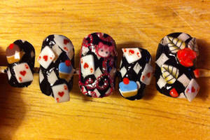 Alice in Wonderland Inspired Nail Art by HummingbirdHeartbeat