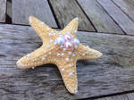 Pink/White/Ivory Pearl Starfish Hair Piece