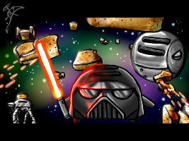 Toaster Wars - Attack on toasts by FanDragonBall
