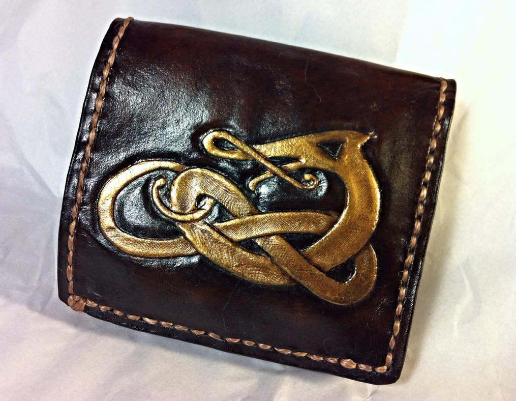 Celtic Knotwork Wallet Soft Linded - Gold and Choc by WorldofLeathercraft