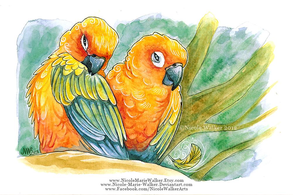 Sun Parakeets by Nicole-Marie-Walker