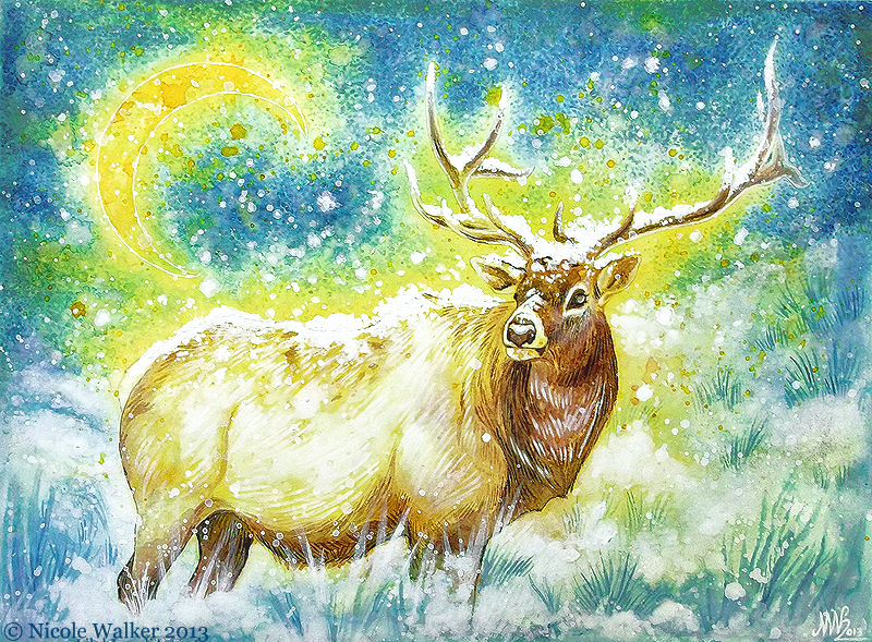 Elk Commission - Ink Painting by Nicole-Marie-Walker