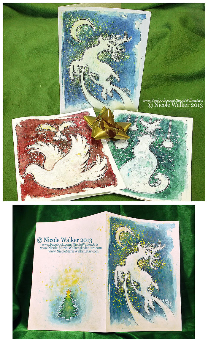 Hand painted christmas cards by nicole marie walker on for Painted christmas cards