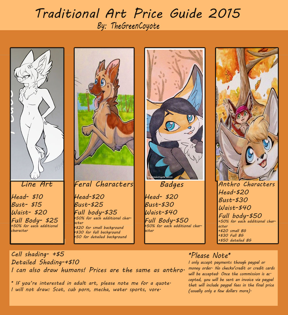 Traditional art price guide 2015 by TheGreenCoyote on DeviantArt