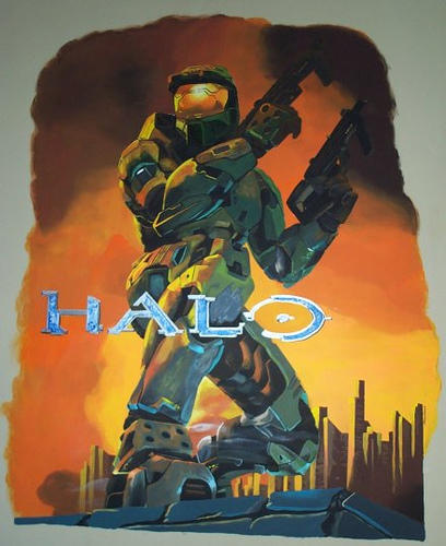 halo wall mural by silverwing21 on deviantart halo 4 5 master chief 3d wall sticker smashed bedroom kids