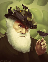 darwin, bird in the hand by Halvochin