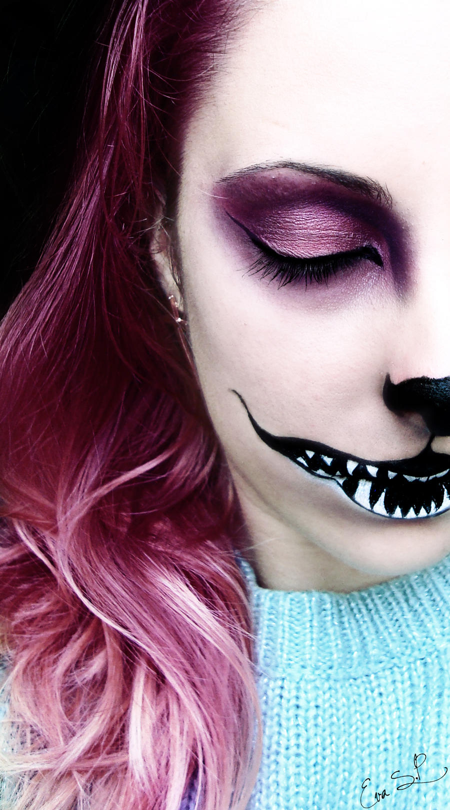 We're all mad here (Chessire Cat Halloween makeup)