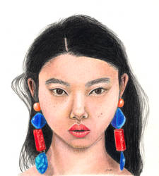 Colored Pencil portrait of young girl