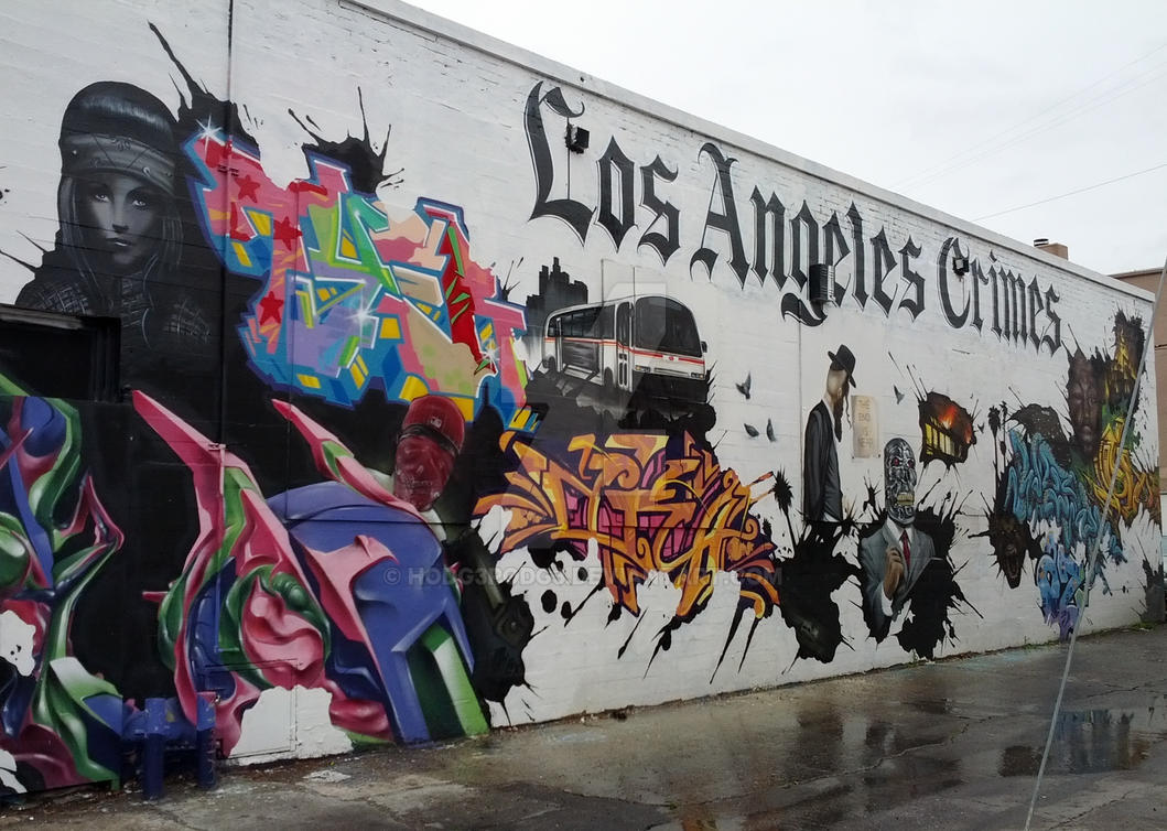 Los angeles crimes wall mural la by hodg3podg3 on for California mural