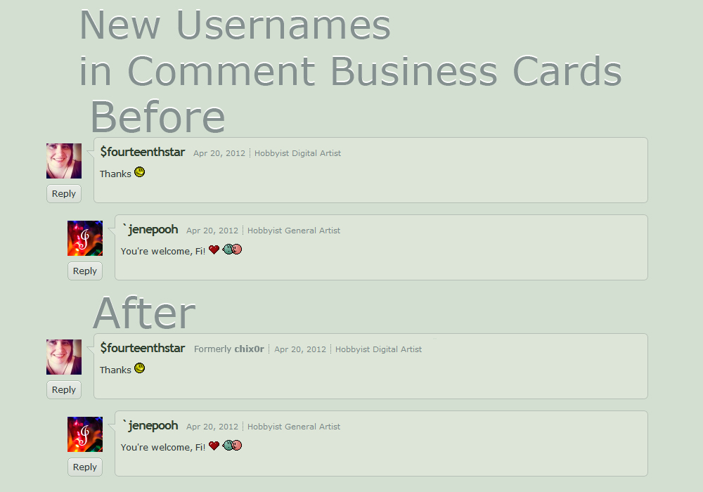 New Usernames in Comment Business Cards by admx on DeviantArt