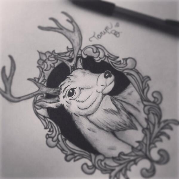Deer Sketch  tattoo idea  by Traditional Deer Tattoo Drawing