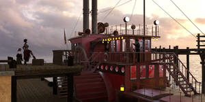 Passengers for the Paddle Steamer