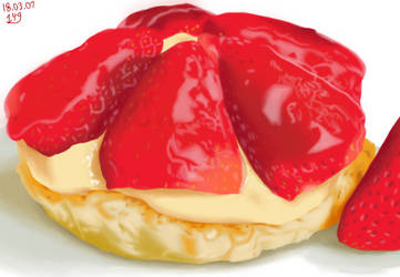 Still life - Strawberry Custard Tart by Benit149