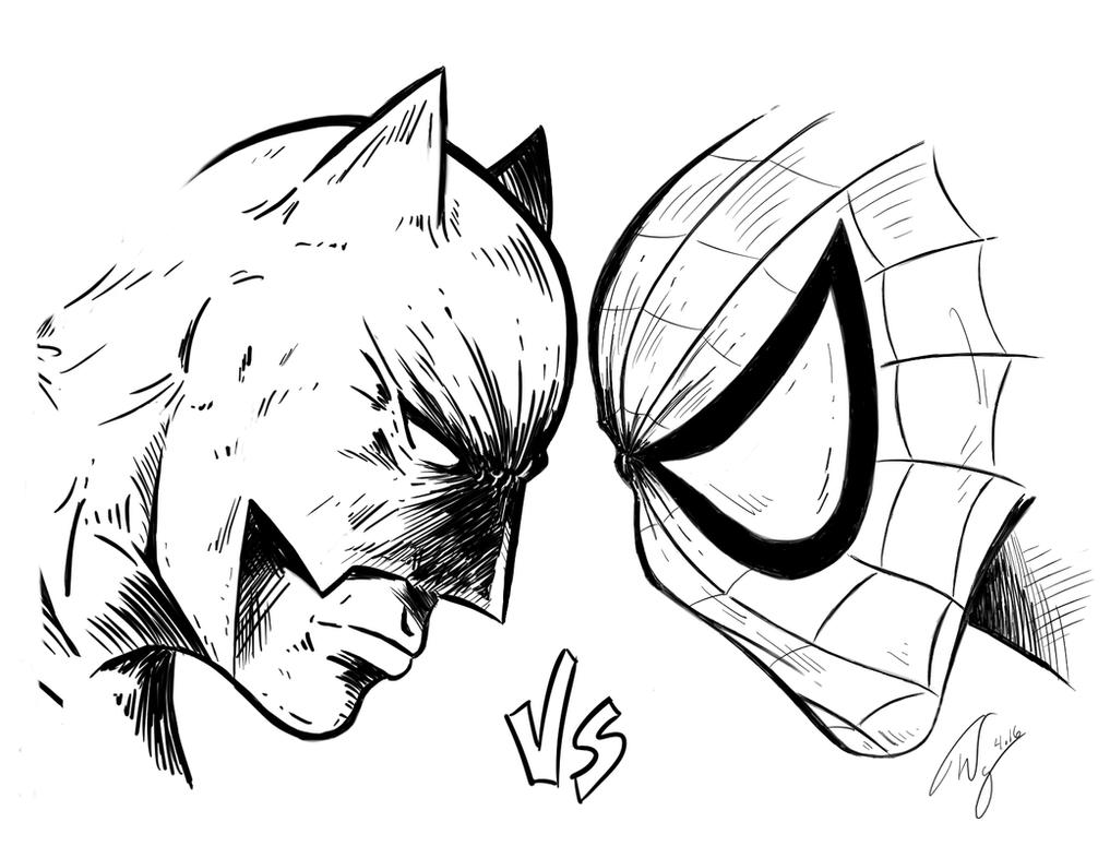 coloring pages batman spiderman crossover - photo#11