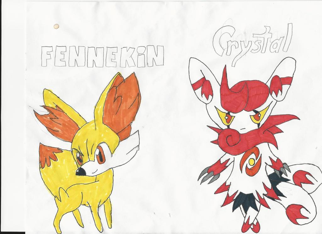 Fennekin and Crystal by emogal96
