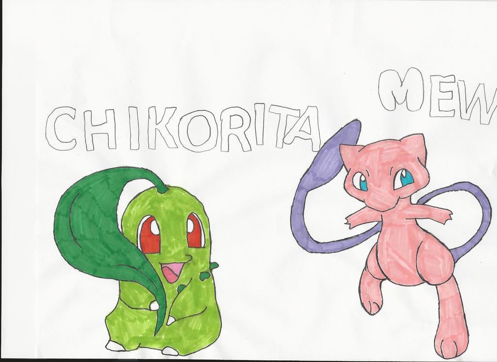 Chikorita and Mew by emogal96