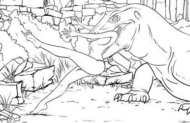 Lizard Concept Inks for Cretaceous Seas by SecretStashStudios