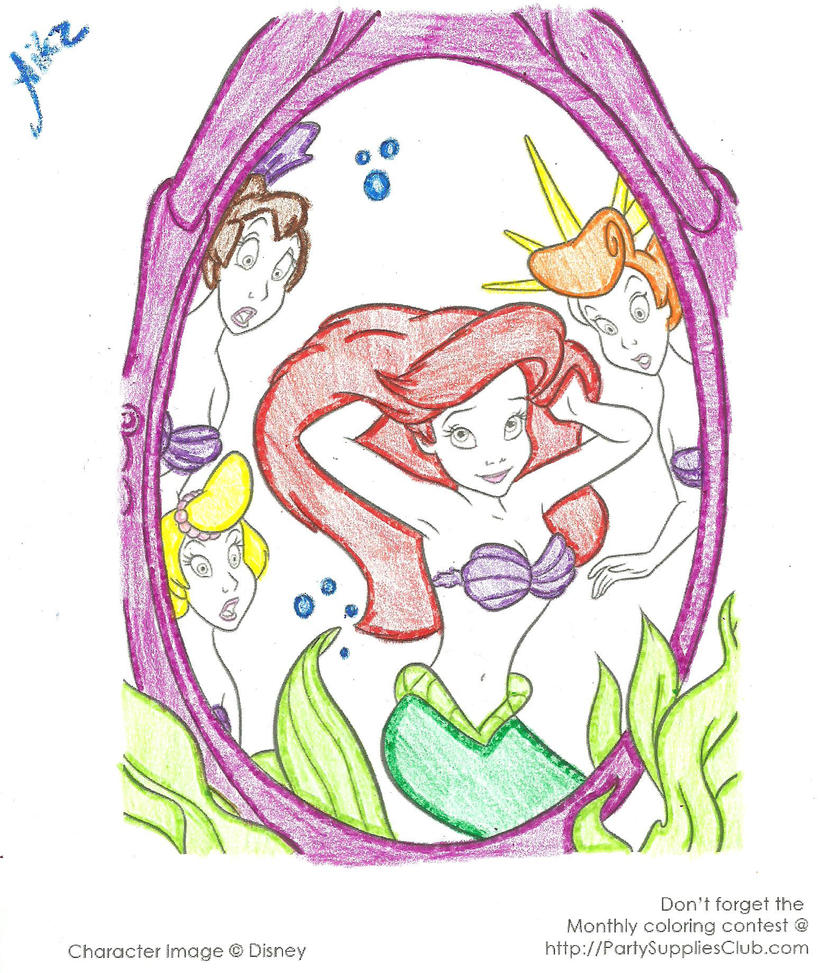 Coloring Pages Of Ariel And Her Sisters : Ariels sisters colouring pages aquata little mermaid