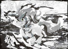 <b>Inktober Day 16 - Keldeo</b><br><i>Aurora-Silver</i>