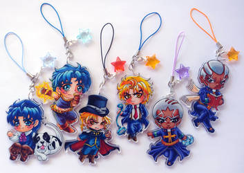 JJBA - Acrylic Charms (Set One) by Tomo-Chi