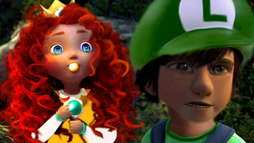 Mario-Baby Merida and Hiccup by mirandaareli