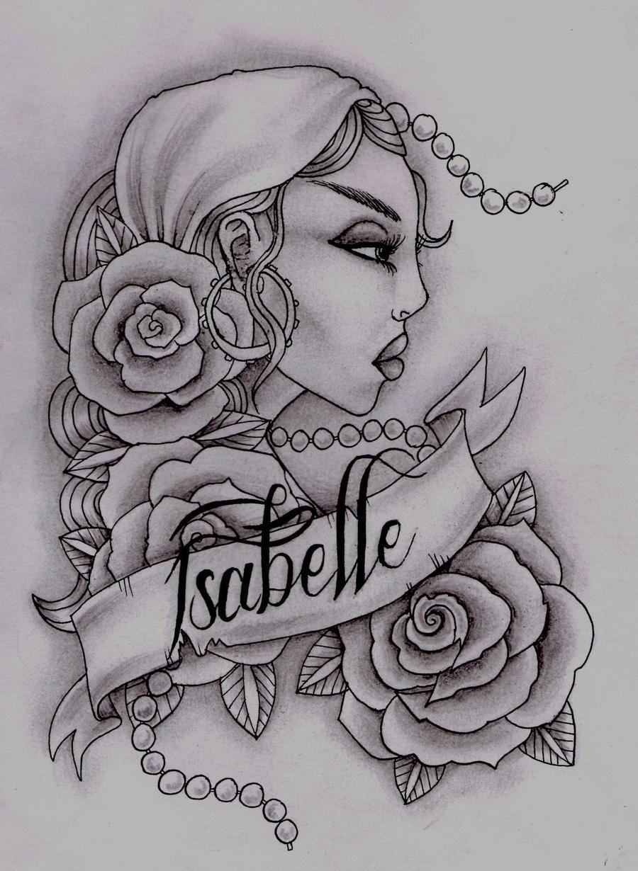 Tattoo girl drawing Gypsy Girl Tattoo Design ~ Tattowmag