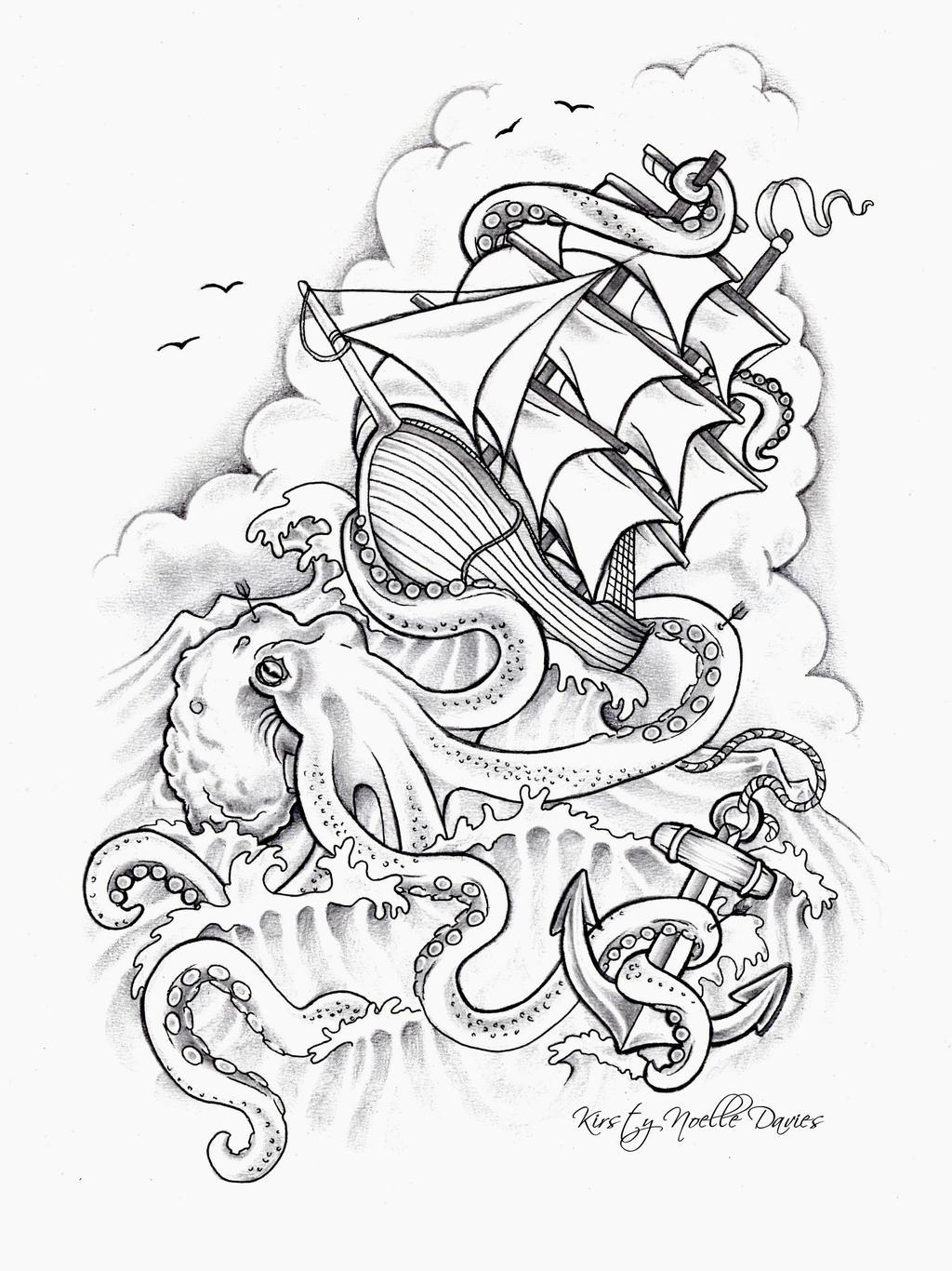 Octopus sinking ship tattoo design by kirstynoelledavies for Sinking ship tattoo