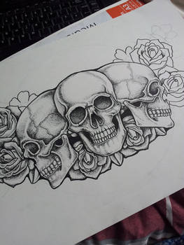 Dot Skull and Roses Chest Piece Tattoo in progress